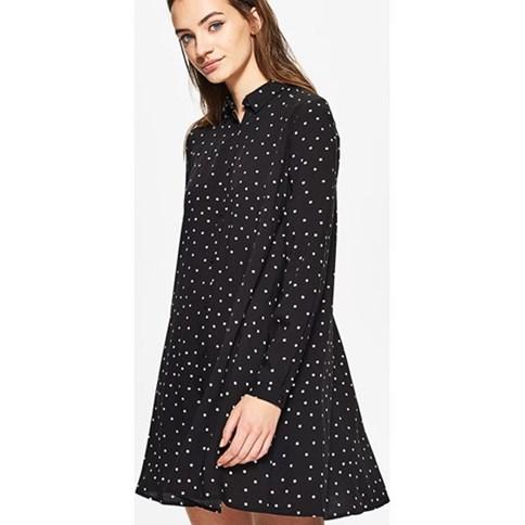 8dbd394b02 Czarna sukienka w groszki