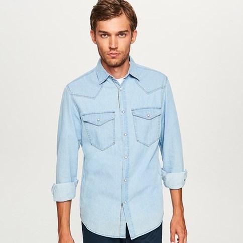 Jasna meska jeansowa koszula, dzinsowe koszule meskie ze