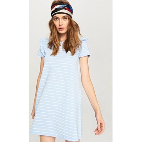 ff8637b793 Letnia sukienka trapezowa w błękitne paski