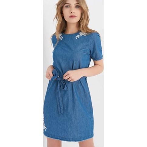 0b1eb655b2 Sukienka jeansowa z haftem