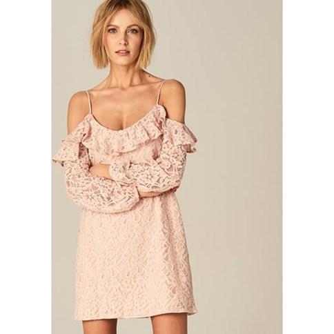 500aba5cb2 Sukienka koronkowa w pudrowym różu