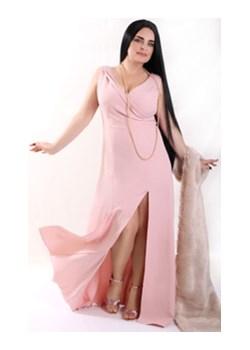 Długa sukienka ATENA PLUS SIZE Brudny róż Oscar Fashion okazyjna cena Oscar Fashion - kod rabatowy