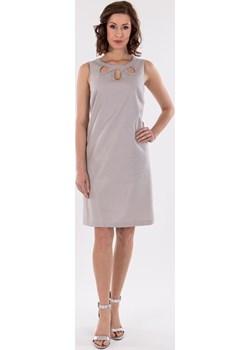 Lniana sukienka z ozdobnymi wycięciami przy dekolcie Cotton Club Cotton Club - kod rabatowy