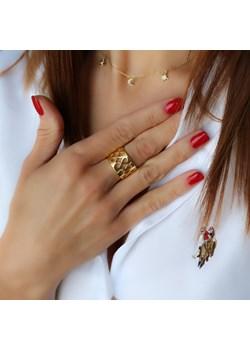 """Złoty pierścionek obrączka """"ażurowa"""" szeroka - srebro 925 pozłacane coccola.pl - kod rabatowy"""