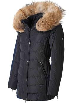 SAKI LAUREN - Czarna kurtka puchowa z kapturem i prawdziwym jenotem w kolorze naturalnym Saki wyprzedaż cordon.pl - kod rabatowy
