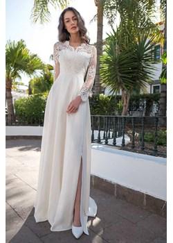 Sukienka Paula długi rękaw - ecru Marconifashion - kod rabatowy