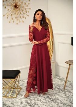 sukienka  Pamela - bordo Marconifashion - kod rabatowy