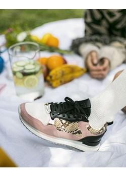 Skórzane sneakersy Athens pudrowy 36 efancy.pl - kod rabatowy
