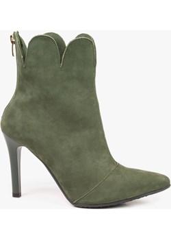 Zielone botki damskie skórzane 2884/D76 wyprzedaż Oleksy - producent obuwia - kod rabatowy