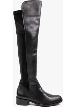 Czarne kozaki damskie skórzane 2012/532/846 wyprzedaż Oleksy - producent obuwia - kod rabatowy