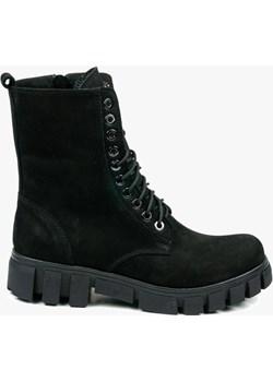Czarne trapery damskie skórzane 3259/B22 Oleksy - producent obuwia - kod rabatowy