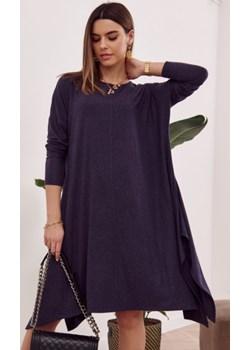 Sukienka oversize z wiązaniem z tyłu granatowa FG558 fasardi.com - kod rabatowy