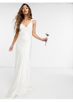 Ghost London – Satynowa suknia maxi w kolorze kości słoniowej z kolekcji ślubnej-Biały Ghost okazyjna cena Asos Poland - kod rabatowy