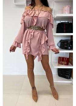 Sukienka z piękną modną falbanką CASHMIR * pink Limonka promocyjna cena Limonkashop.pl - kod rabatowy