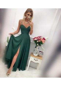 CHLOE – DŁUGA SUKIENKA Z ROZCIĘCIEM NA NODZE 38 butelkowa zieleń Pretty Woman e-sukienki.pl - kod rabatowy