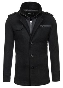 Płaszcz męski czarny Denley 8856C okazyjna cena Denley - kod rabatowy