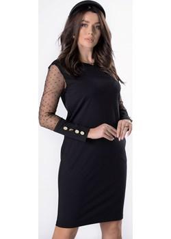 dopasowana sukienka z tiulowymi rękawami Ptakmoda.com ptakmoda.com - kod rabatowy