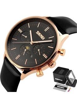Zegarek męski SKMEI 9117 elegancki SKÓRZANY czarny Skmei wyprzedaż skmei.shop - kod rabatowy