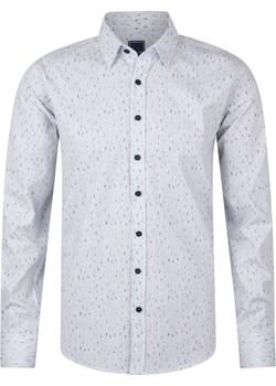 Koszula męska biała wzór Evolution okazyjna cena - kod rabatowy