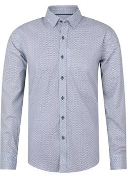 Koszula męska biało granatowa wzór okazyjna cena Evolution - kod rabatowy