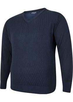 Sweter męski niebieski w serek Bigsize wyprzedaż BigSize - kod rabatowy
