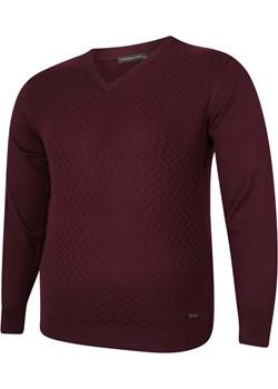 Sweter męski bordowy  w serek Bigsize wyprzedaż BigSize - kod rabatowy