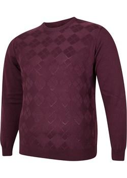 Sweter męski pod szyje bordowy Bigsize BigSize okazyjna cena - kod rabatowy