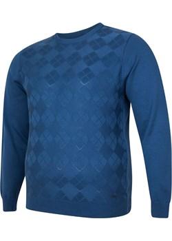 Sweter męski pod szyje niebieski Bigsize okazja BigSize - kod rabatowy