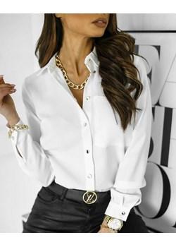 Biała, elegancka koszula ze złotymi guzikami i łańcuszkiem, PurPura LA FEMME BOUTIQUE - kod rabatowy