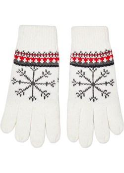 Rękawiczki damskie z zimowym wzorem białe Moodo Recenogi.pl - kod rabatowy