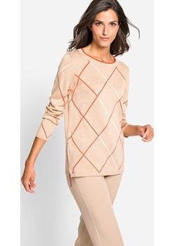 Sweter w geometryczne wzory French Bourgeois 11003277 Beżowy 46 Olsen promocyjna cena Olsen - kod rabatowy