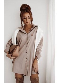 Długa, beżowa koszula oversize LA FEMME BOUTIQUE - kod rabatowy
