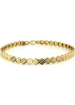 Złota bransoletka 585 sześciokątne diamentowane blaszki Lovrin LOVRIN - kod rabatowy
