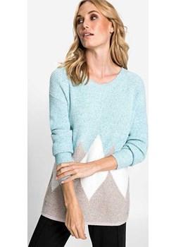 Sweter w geometryczne wzory Northern Glow 11003278 Miętowy 48 Olsen okazyjna cena Olsen - kod rabatowy
