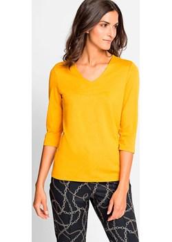 Gładki T-shirt w serek New Heritage 11100796 Żółty 44 Olsen Olsen wyprzedaż - kod rabatowy