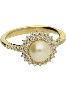Pierścionek perła biała 8mm+cyr.w koło 2r OS 96-0557 próba 585 Sezam Jubiler Sezam - kod rabatowy