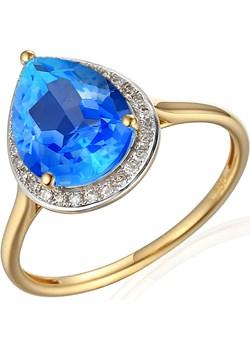 Pierścionek topaz blue 2,92ct+bryl 0,11ct AW 62902 Y-TO łezka próba 585 MARKIZA Sezam okazja Jubiler Sezam - kod rabatowy