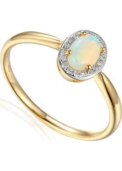 Pierścionek zaręczynowy z diamentami i  opalem białym  AW 57117 Y Markiza próba 585 MARKIZA Sezam Jubiler Sezam wyprzedaż - kod rabatowy