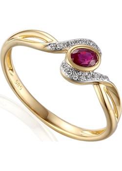 Pierścionek zaręczynowy z diamentami i rubinem nr AW 58015 YW-RU owal twist próba 585 Sezam okazyjna cena Jubiler Sezam - kod rabatowy