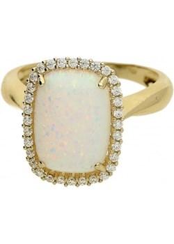 Pierścionek opal biały prostokąt+cyrkonie OS 96-3053 OPL próba 585 Sezam okazja Jubiler Sezam - kod rabatowy