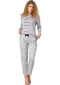 Bawełniana piżama damska M-MAX 943 Oria szara okazja bodyciao - kod rabatowy