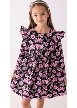 Czarna sukienka w różowe kwiaty z falbanką 98 Jesień/Zima Myprincess / Lily Grey promocja MKA GROUP - kod rabatowy