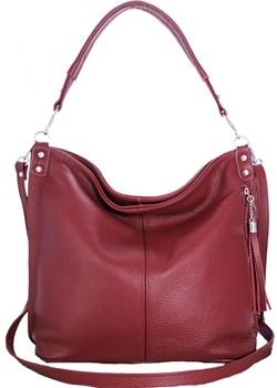 Skórzana Czerwona torebka/worek/listonoszka z frędzlem promocyjna cena TrendyTorebki - kod rabatowy