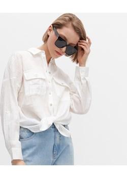 Reserved - Marszczona koszula z kieszeniami - Biały  Reserved  - kod rabatowy