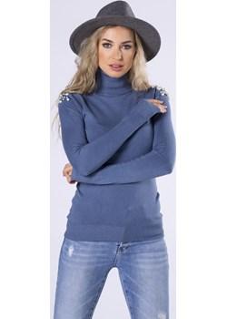 Dopasowany sweter z golfem i perełkami na ramionach Parocca - kod rabatowy
