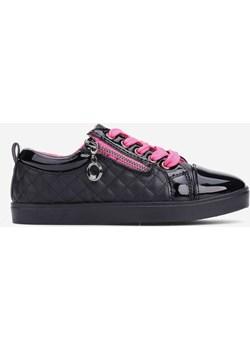 Trampki czarno-różowe-6  Adelle Yourshoes YourShoes - kod rabatowy