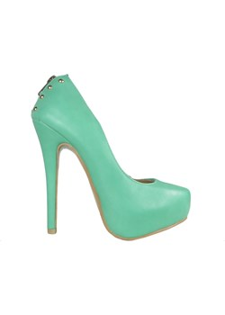 Zielone szpilki matowe buty na platformie promocyjna cena Kokietki - kod rabatowy