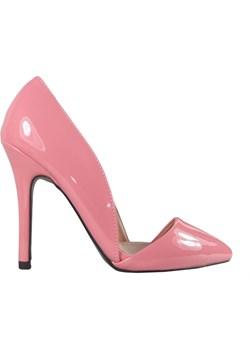 Różowe szpilki z wycięciem buty damskie pudrowy róż okazja Kokietki - kod rabatowy