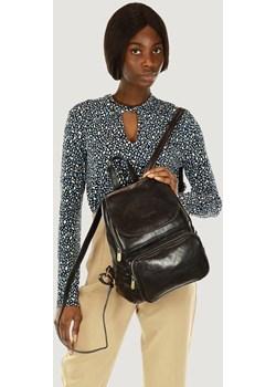GIGI MARCO MAZZINI Elegancki plecak z kieszenią skóra naturalna leather czarny Merg wyprzedaż merg.pl - kod rabatowy