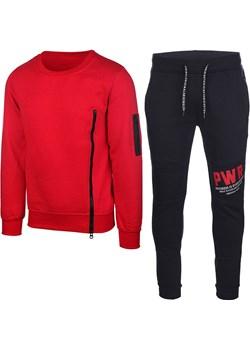 Dres Męski Komplet Dresowy Bluza bez Kaptura i Spodnie K59 Czerwony z Granatowym Neidio wyprzedaż Neidio.pl - kod rabatowy